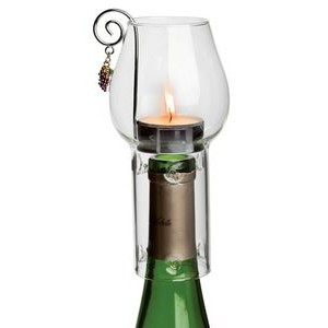 Wine Chimney Tea Candle Set w/Clear Dome